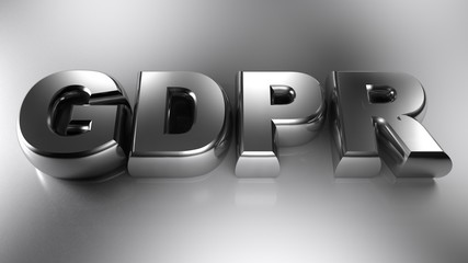 GDPR metal write - 3D rendering