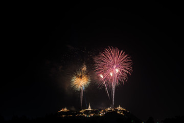 Beautiful fireworks with Phra Nakhon Khiri ancient place (Khao Wang) landmark of Phetchaburi Province Thailand