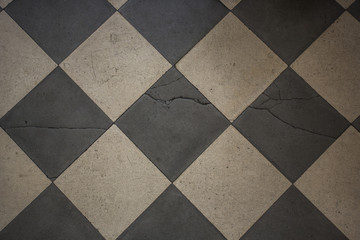 black and whede old floor tile texture background