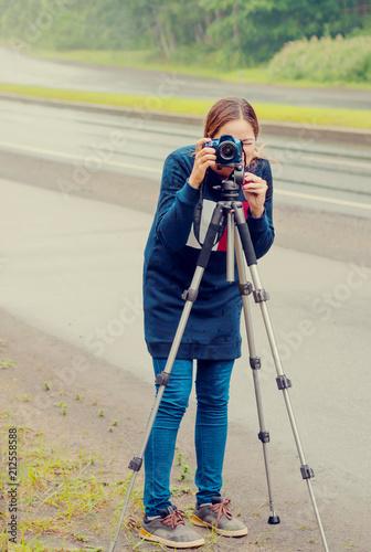 Freelance photographer shooting lifestyle  Girl taking
