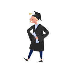 Happy male graduate, smiling graduation student boy in gown and cap holding diploma in his hands vector Illustrations on a white background