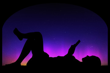 Lying girl near big window at night. Vector illustration with silhouette of woman with mobile phone. Northern lights in starry sky. Colorful aurora borealis