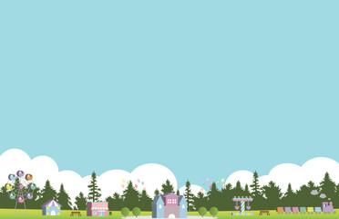森の遊園地 イラスト