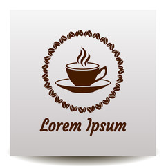 Cup of coffe with saurce, frame of coffee beans and flavour vector icon.