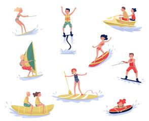 Extreme water sports set, waterski, flyboarding, windsurfing, surfing, paddleboarding, wakeboarding water sport activities cartoon vector Illustrations