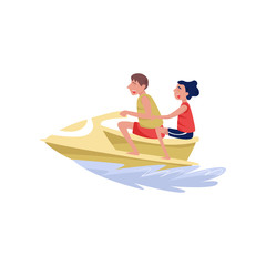 Young man and woman riding on water jetski, extreme water sport cartoon vector Illustration on a white background