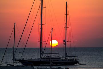 Yachts at sunset