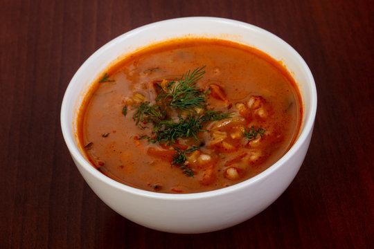 Russian traditional soup Rassolnik