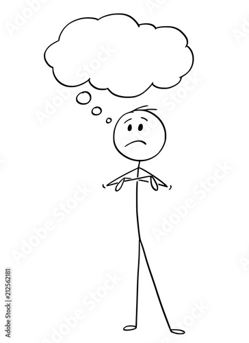 Cartoon stick drawing conceptual illustration of unhappy man or