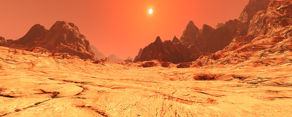 Aluminium Prints Orange Glow 3D Rendering Planet Mars Lanscape