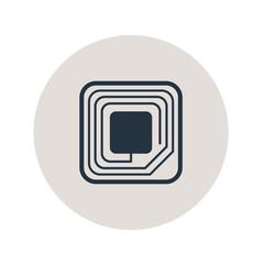 Icono plano etiqueta RFID en circulo gris