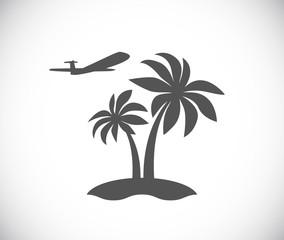 palm tree island with plane icon