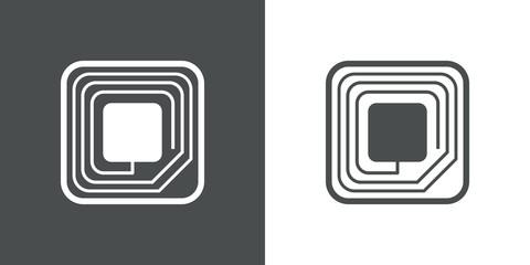 Icono plano etiqueta RFID en gris y blanco
