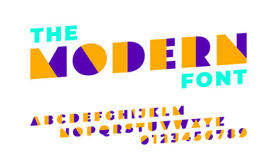 Modern font and alphabet from orange and purple shapes in minimal design