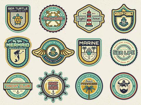 Sea, nautical and beach retro badges. Vector set.