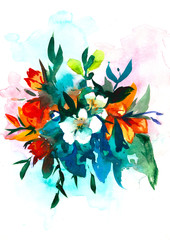lily flower watercolor bouquet. watercolor illustration