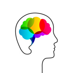 Creativity concept with colorful brain and head silhouette