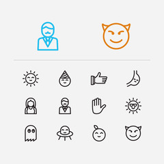 Emoji icons. Set of emoji hand, thumb up, human anatomy vector sign symbols. Vector illustration of sunbeam emoticons set for logo web mobile design.