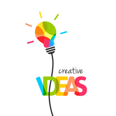 Creative ideas concept with colorful lightbulb. Integrated text and lettering with multiply blend mode.