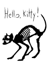 Hello, Kitty! Sarcastic silhouette of cat's skeleton in agressive pose.