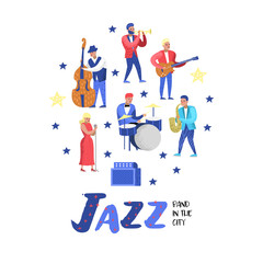 Jazz Music Characters Set. Musical Instruments, Musicians and Singer Artists. Contrabassist, drummer, saxophonist, guitarist. Vector illustration