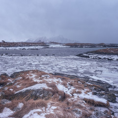 Severe winter landscape with fjord and mountains, water and ice, Andenes, Lofoten Islands, Norway