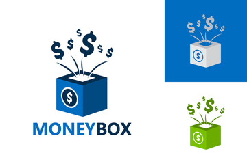 Money Box Logo Template Design Vector, Emblem, Design Concept, Creative Symbol, Icon