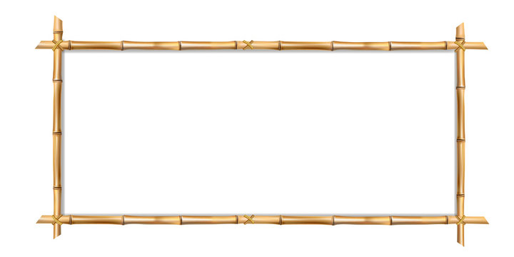 Rectangle brown bamboo border frame with space for text