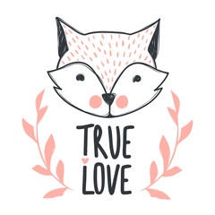 Hand drawn lettering phrase True love and cute fox