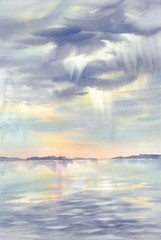Morning sky reflections on water watercolor
