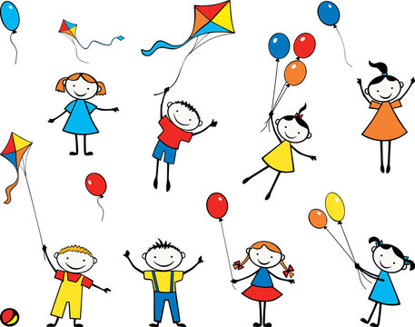 Vector image of playful children with balloons and kites