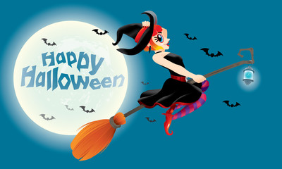 A cute witch flying with her magic broom. With full moon night scene.