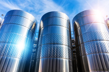 Stainless steel storage tank containers at the chemical plant factory