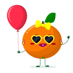 Cute Orange cartoon character sunglasses hearts, bow and earrings. Holds a red air balloon. Vector illustration, a flat style.