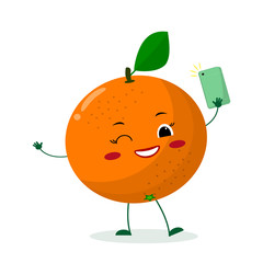 Cute Orange cartoon character with a smartphone and does selfie. Vector illustration, a flat style.