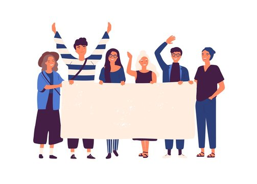 Group of young men and women standing together and holding blank banner. People taking part in parade or rally. Male and female protesters or activists. Flat cartoon colorful vector illustration.