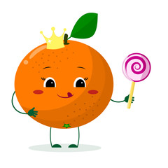 Cute Orange cartoon character with crown holds a lollipop.Vector illustration, a flat style.