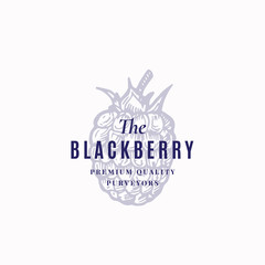 The Blackberry Abstract Vector Sign, Symbol or Logo Template. Black Berry Sketch Sillhouette with Elegant Retro Typography. Vintage Luxury Emblem.