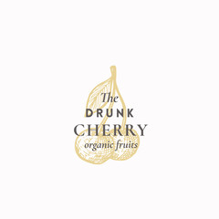 The Drunk Cherry Abstract Vector Sign, Symbol or Logo Template. Two Cherries with Leaf Sketch Sillhouette with Elegant Retro Typography. Vintage Luxury Emblem.