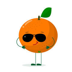 A cute orange character in the style of a cartoon in sunglasses. Vector illustration, a flat style.