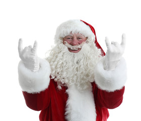 Portrait of authentic Santa Claus on white background