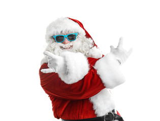 Authentic Santa Claus wearing sunglasses on white background