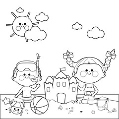 Children at the beach swimming and building a sandcastle. Black and white coloring book page