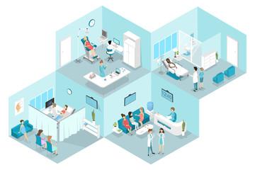 Isometric flat interior of gynecology hospital