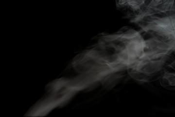 White smoke isolated on black background.