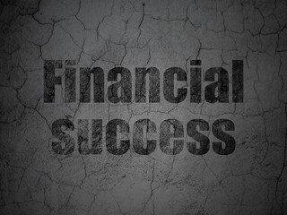 Money concept: Black Financial Success on grunge textured concrete wall background