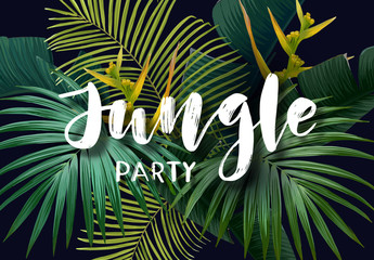 Summer tropical poster with sabal and banana palm leaves, exotic strelitzia flowers and handdrawn integrated inscription. Vector illustration.