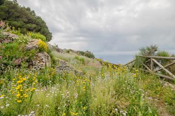 Ruinen der römischen Villa Damecuta auf der Insel Capri an einem sonnigen Frühlingstag.
