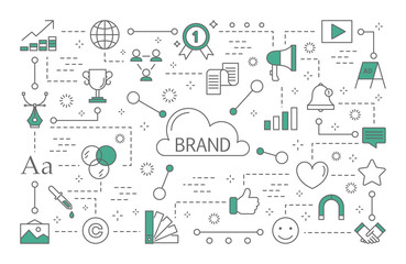 Brand concept with line icons