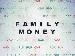 Money concept: Painted black text Family Money on Digital Data Paper background with Currency